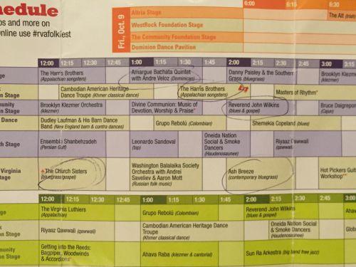 Folk Fest schedule
