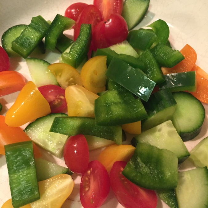 Beginnings of a Greek salad