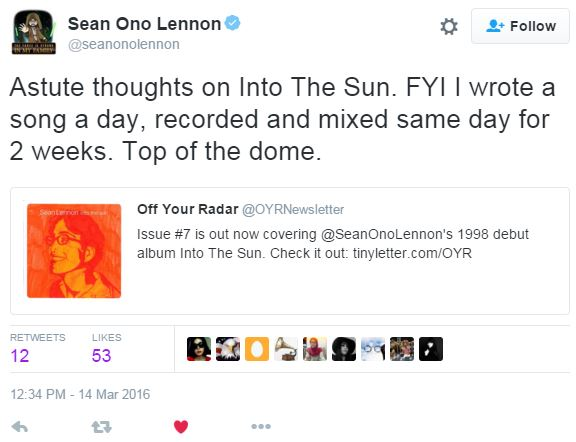 Sean Lennon tweet